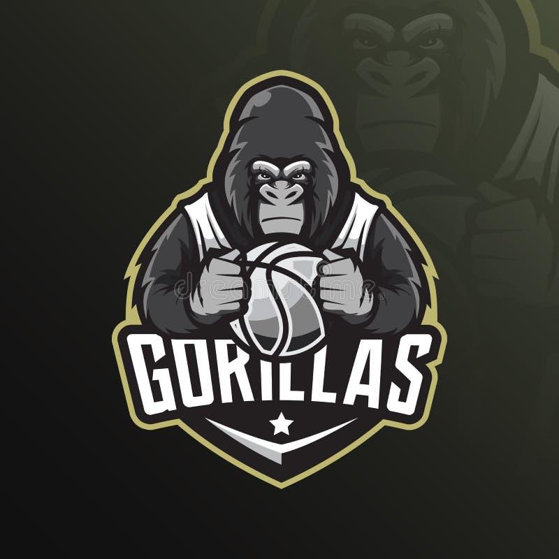 Вектор дизайна логотипа талисмана гориллы с современным стилем концепции иллюстрации для печатания значка, эмблемы и футболки сер иллюстрация вектора