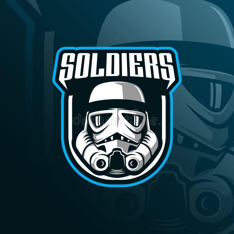 Вектор дизайна логотипа талисмана солдат с современным стилем концепции иллюстрации для печатания значка, эмблемы и футболки глав иллюстрация вектора