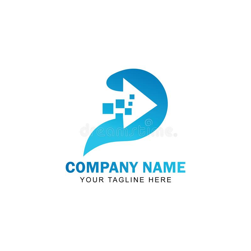 Вектор дизайна логотипа технологии p письма иллюстрация вектора