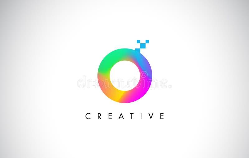 Вектор дизайна письма логотипа o красочный Творческий градиент радуги иллюстрация штока