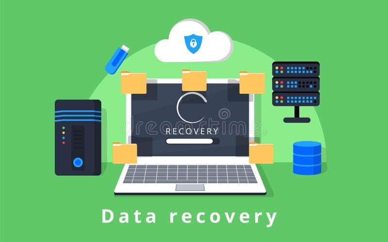 Вектор дизайна спасения, резервной копии данных, восстановления и безопасности данных плоский с значками иллюстрация вектора