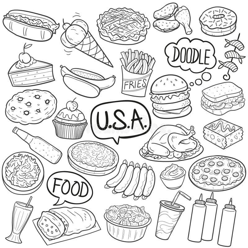 Вектор дизайна традиционного американского эскиза значков Doodle еды кузена традиционного ручной работы бесплатная иллюстрация