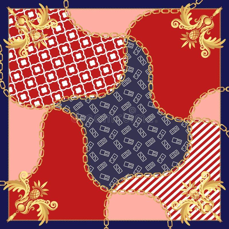 Вектор дизайна цепей золота шарфа шелка винтажный барочный иллюстрация штока