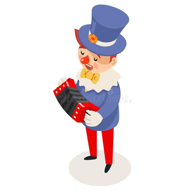 Вектор дизайна шаржа партии потехи шутки цирка клоуна аккордеона музыки игры гармоническим равновеликим изолированный характером иллюстрация штока