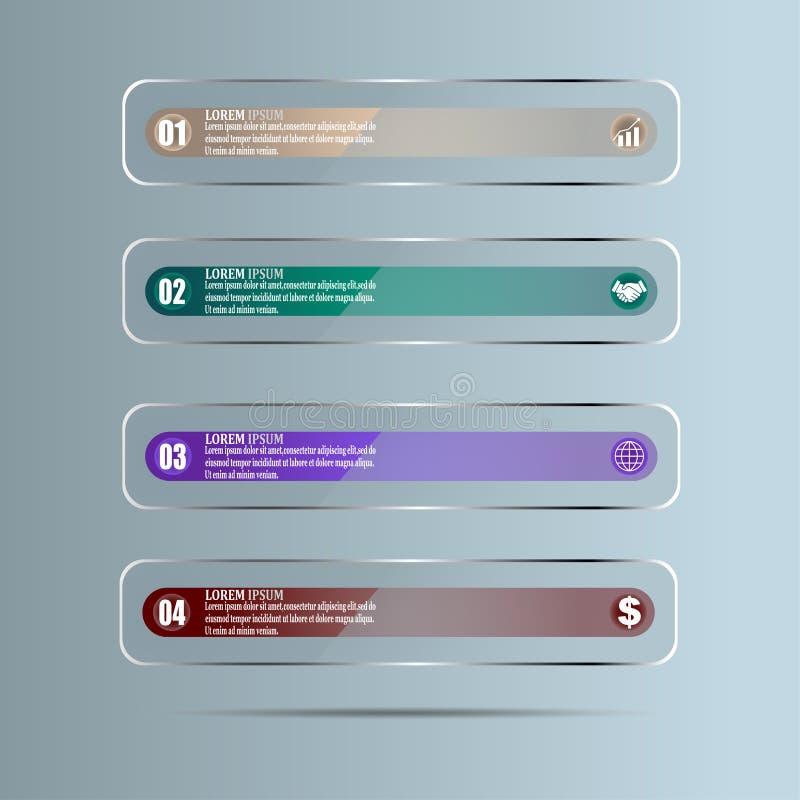 Вектор дизайна infographics срока с 4 вариантами в форме стеклянных панелей иллюстрация вектора