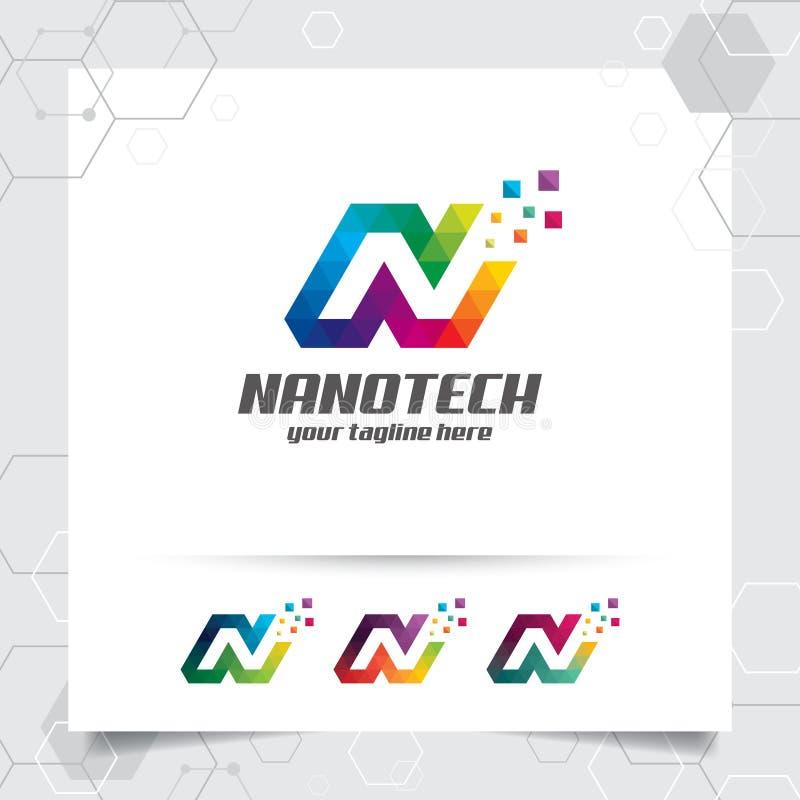 Вектор дизайна n письма логотипа цифров с современным красочным пикселом для технологии, программного обеспечения, студии, прилож иллюстрация вектора