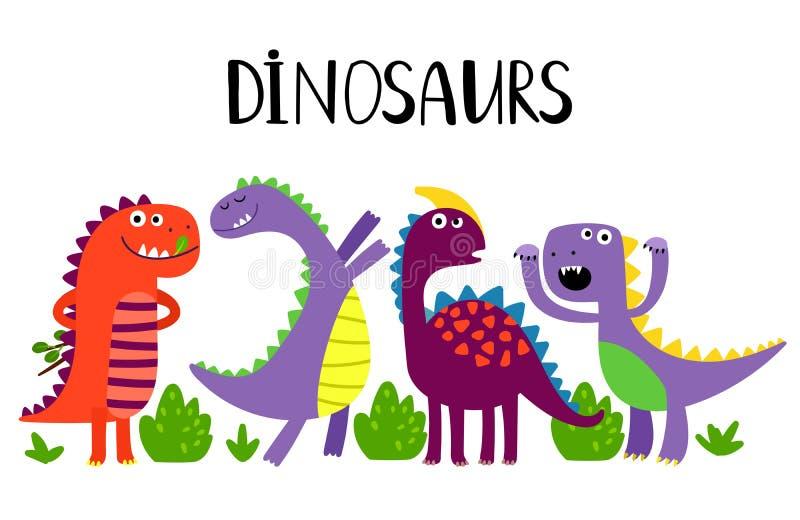 Вектор динозавров мультфильма эмоциональный изолированный на белой п бесплатная иллюстрация