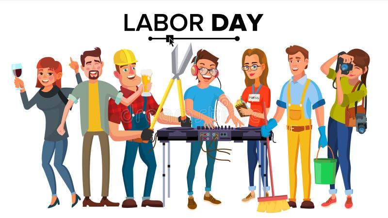 Вектор Дня Трудаа Современные установленные работники Группа людей  иллюстрация вектора