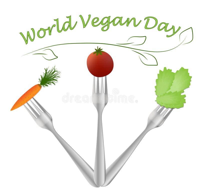 Вектор дня Vegan мира иллюстрация штока