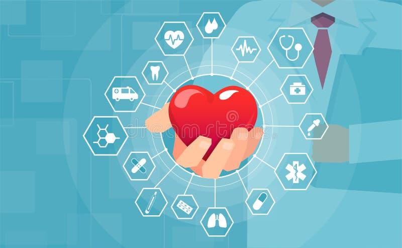 Вектор доктора держа красное сердце предлагая медицинские помощь и помощь бесплатная иллюстрация