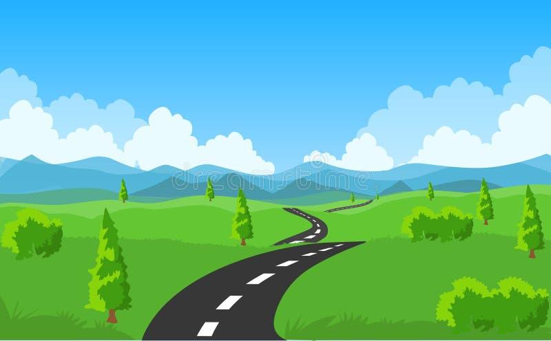 Вектор дороги Проселочная дорога, холмы и облака страны иллюстрация вектора