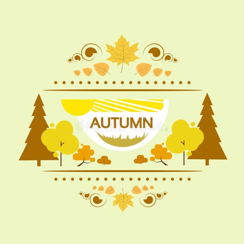 Вектор дерева желтого цвета дизайна знамени осени плоский иллюстрация штока