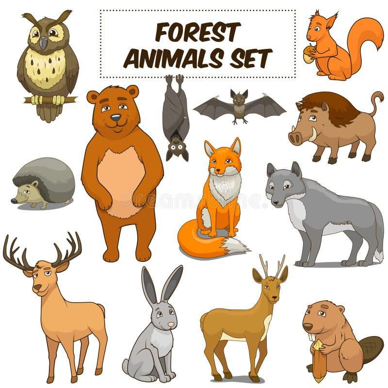 Вектор леса шаржа установленный животными иллюстрация штока
