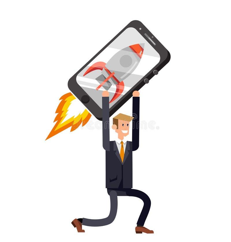 Вектор детализировал характер с smartphone как ракета, запуск иллюстрация штока