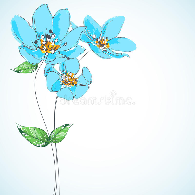 вектор детального чертежа предпосылки флористический иллюстрация штока