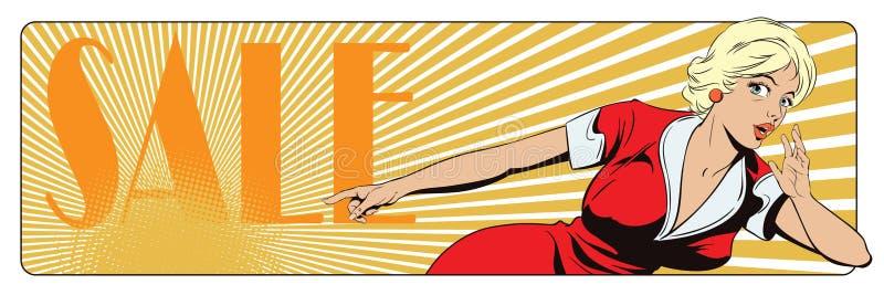 Вектор дела представления Template Удивленная молодая женщина указывает палец иллюстрация штока