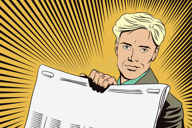 Вектор дела представления Template Человек показывает газету бесплатная иллюстрация