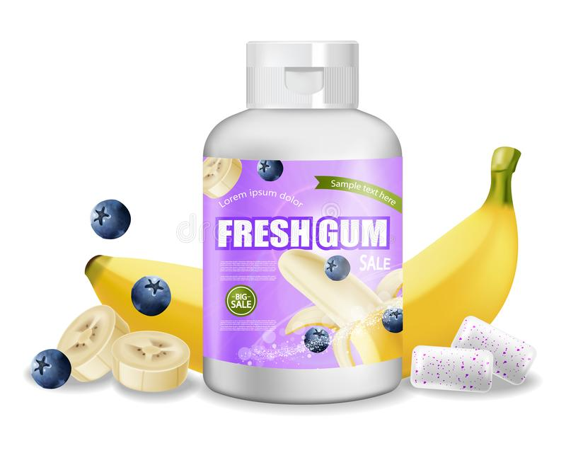 Вектор жевательной резины реалистический Дизайн ярлыка размещения продукта детальный Упаковывая бутылки Банан и вкус ягод 3d бесплатная иллюстрация