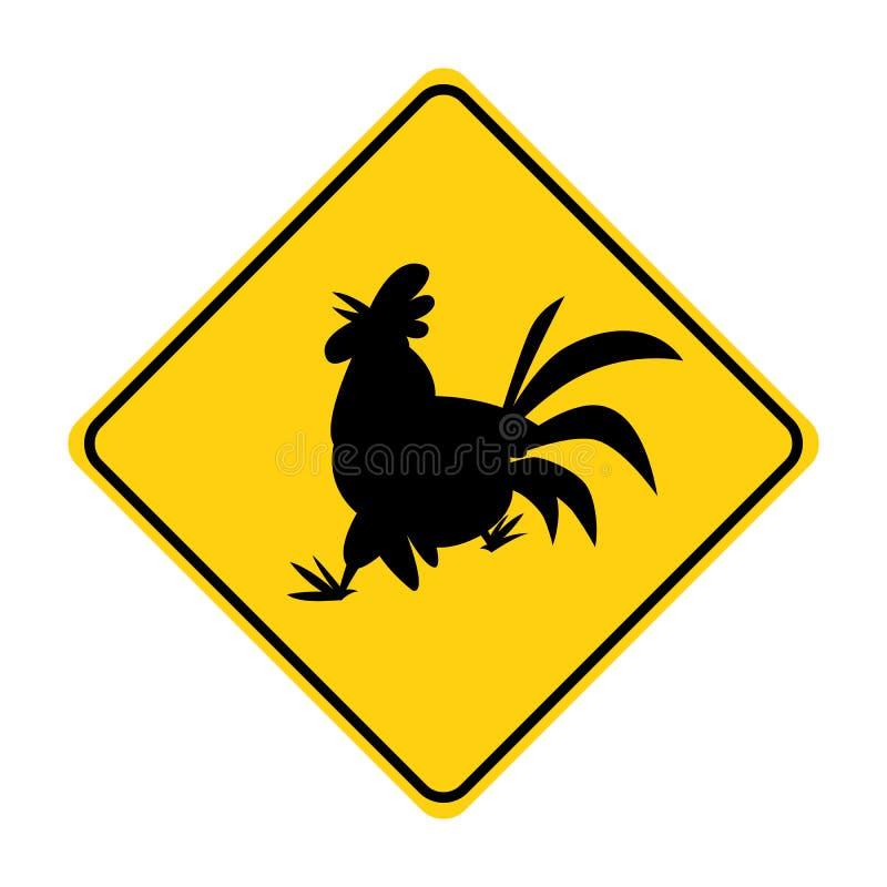 Вектор желтого цвета знака уличного движения силуэта петуха животный бесплатная иллюстрация