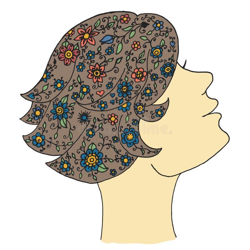 Вектор женщины красоты Путать Дзэн и девушка doodle Дзэн Zentangle и косметика zendoodle Мода Zenart иллюстрация вектора
