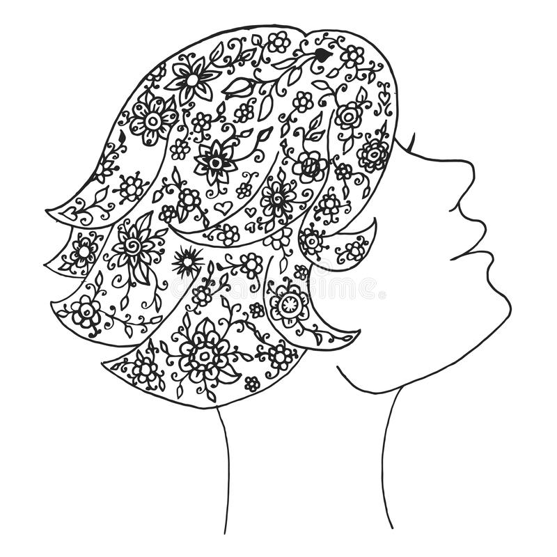 Вектор женщины красоты Путать Дзэн и девушка doodle Дзэн Zentangle и косметика zendoodle Мода Zenart бесплатная иллюстрация