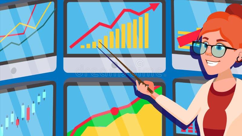 Вектор женщины маклера Маклер фондовой биржи Диаграммы, анализы данных Торгуя запасы онлайн офис 21 Офис торговцев бесплатная иллюстрация