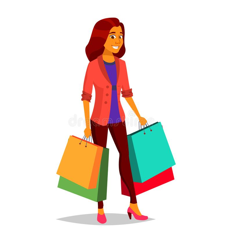Вектор женщины покупок Покупать концепцию Магазин счастливый покупатель Бакалеи в магазине, супермаркете Держать бумажные пакеты иллюстрация штока