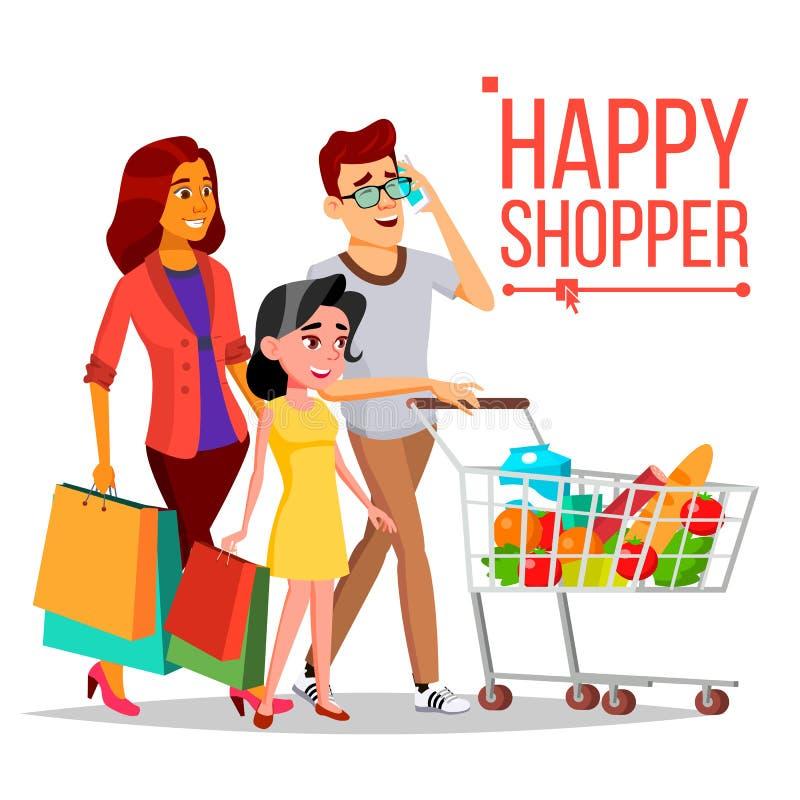 Вектор женщины покупок семья пар счастливая Тележка бакалеи женщина радостная Держать бумажные мешки Бакалеи в магазине иллюстрация вектора