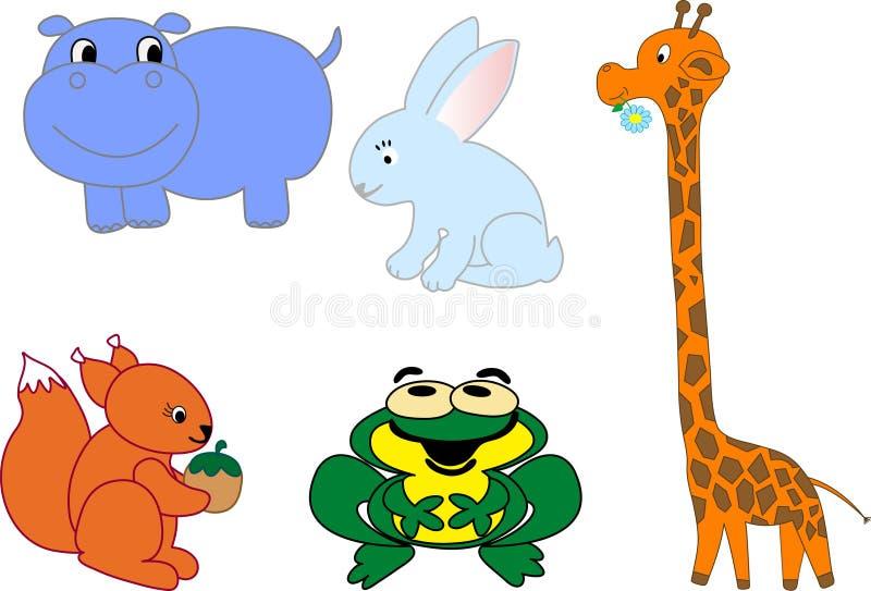 вектор животных установленный иконами иллюстрация вектора