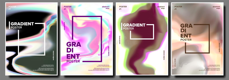 Вектор жидкого плаката градиента установленный Минимальные обои абстрактная волна Современное Sreen Крутая брошюра Простой катало иллюстрация вектора