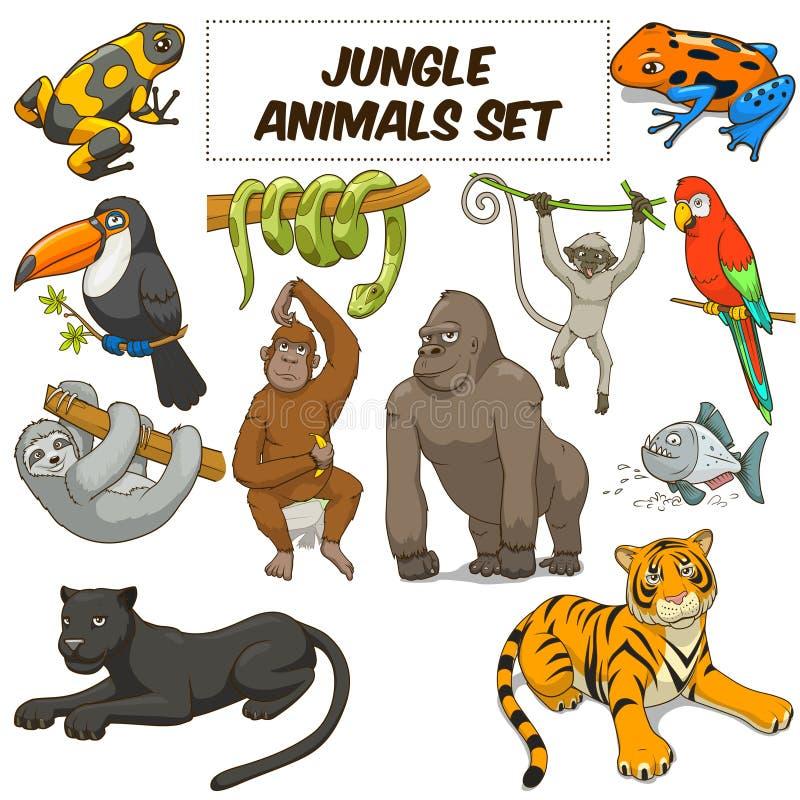 Вектор джунглей шаржа установленный животными иллюстрация вектора