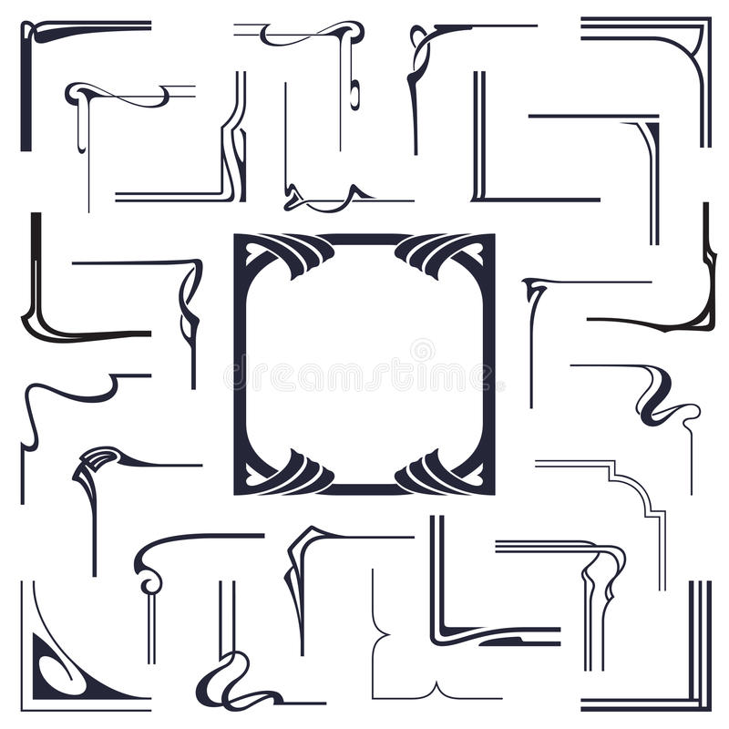 Вектор запаса Абстрактные углы для того чтобы создать рамки от связанных линий иллюстрация штока