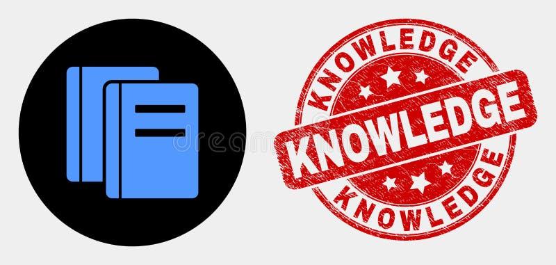 Вектор записывает уплотнение значка и печати знания дистресса иллюстрация штока