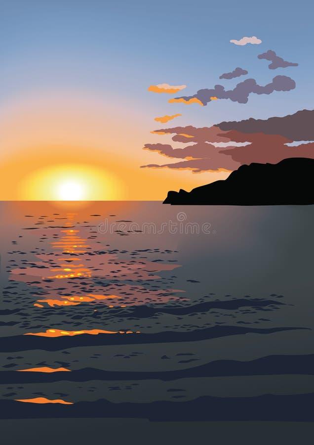вектор захода солнца моря иллюстрация вектора