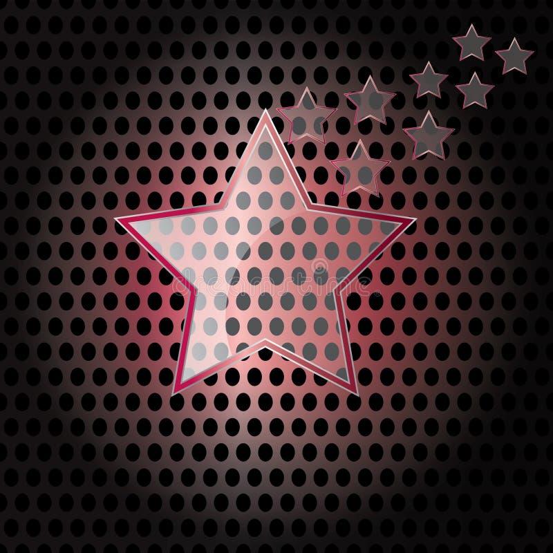 вектор звезды стеклянного металла рамки предпосылки красный иллюстрация штока