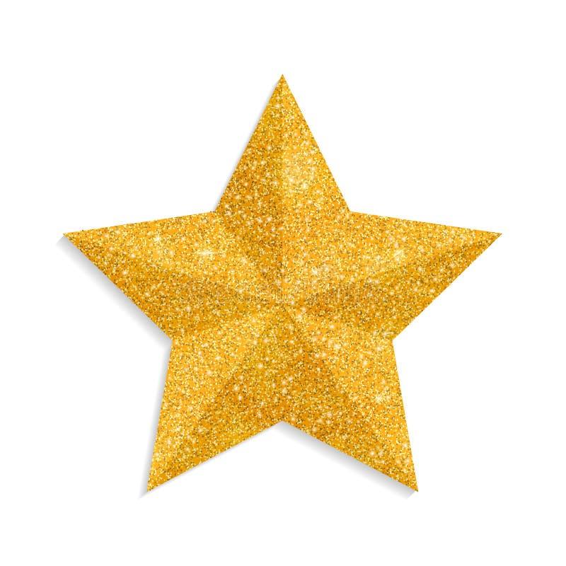 Вектор звезды яркого блеска золотой изолированный на белой предпосылке Звезда рождества, sparkly украшение золотисто иллюстрация вектора