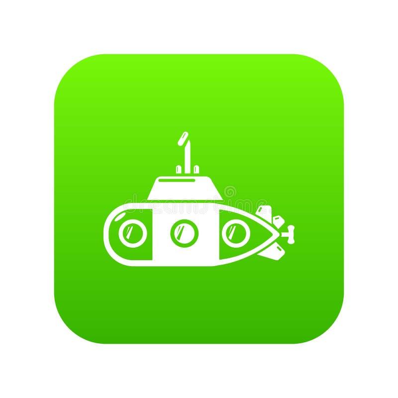 Вектор зеленого цвета значка транспорта подводной лодки иллюстрация вектора