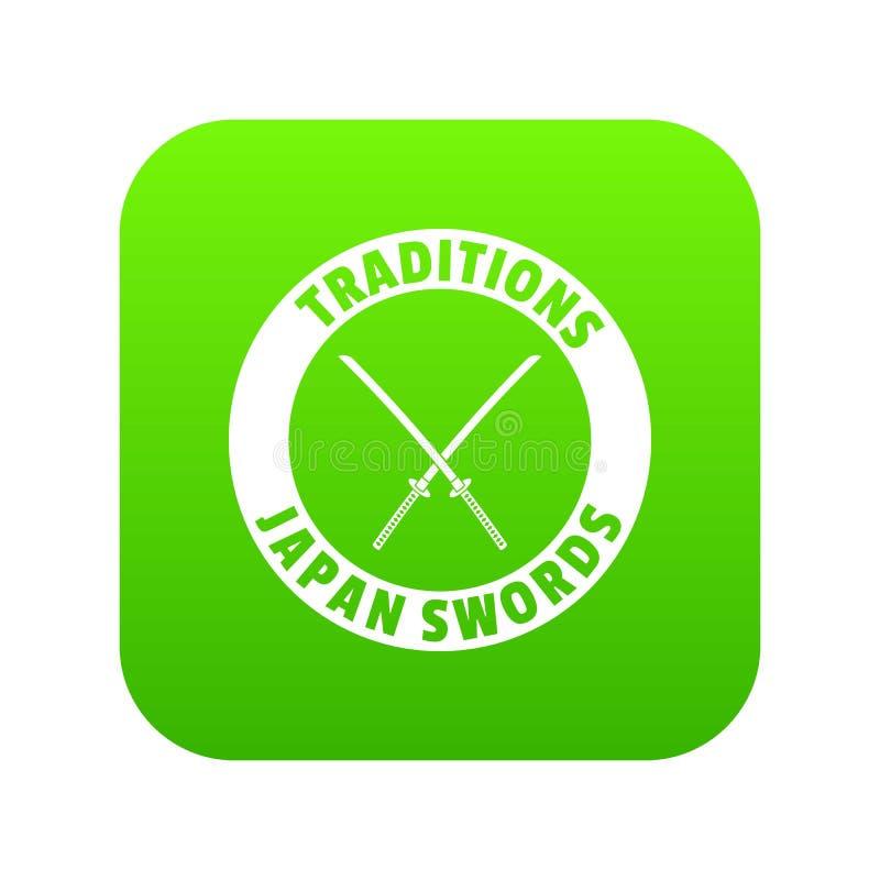 Вектор зеленого цвета значка Katana иллюстрация штока