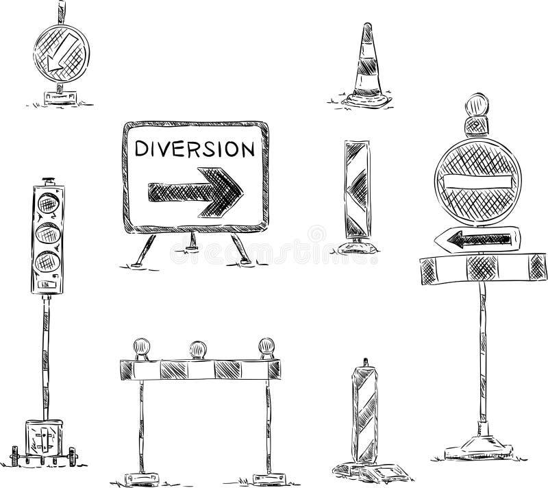 Знак уличного движения под конструкцией иллюстрация штока