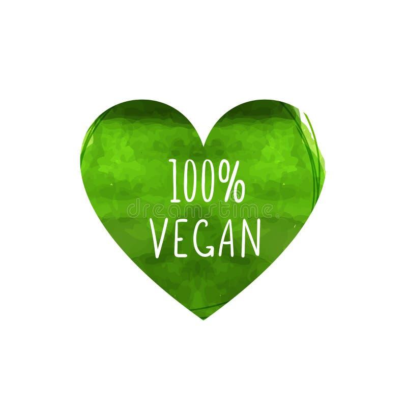 Вектор знак Vegan 100 процентов, красочное зеленое сердце сформировал лист с рукописными словами изолированные на белой предпосыл иллюстрация штока