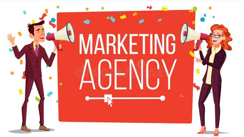 Вектор знамени агенства маркетинга Прибывающее, уходящее за границу знамя маркетинга Мужчина, женский с мегафоном, громкоговорите бесплатная иллюстрация
