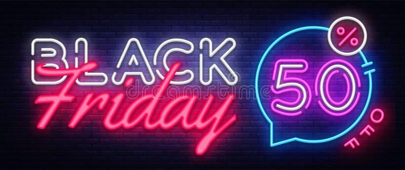 Вектор знамени черной продажи пятницы неоновый Черная неоновая вывеска пятницы, шаблон дизайна, современный дизайн тенденции, шил иллюстрация штока