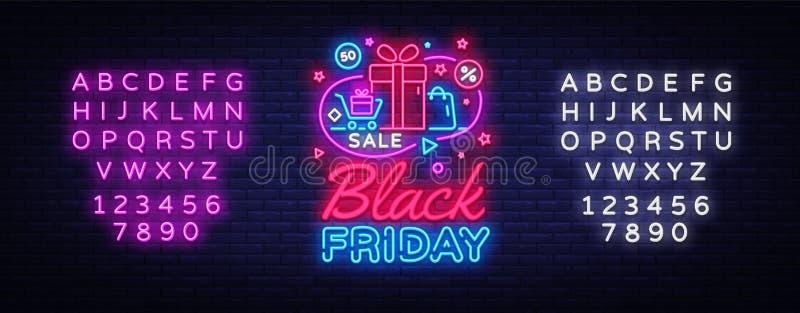 Вектор знамени черной продажи пятницы неоновый Черная неоновая вывеска пятницы, шаблон дизайна, современный дизайн тенденции, шил иллюстрация вектора