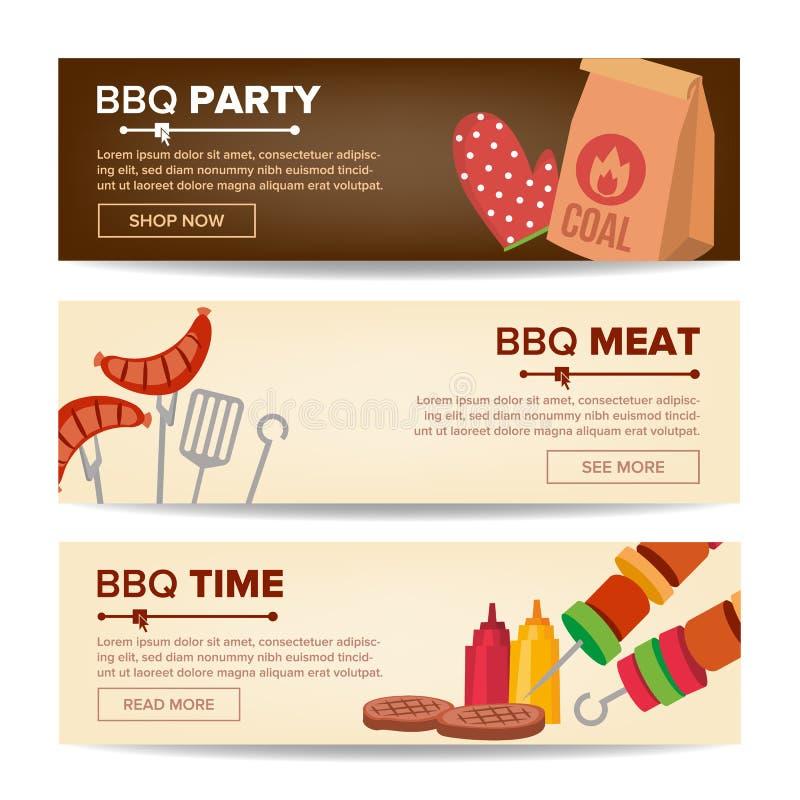 Вектор знамен Promo BBQ горизонтальный Предпосылка сети барбекю Зажженный ассортимент мяса Зажаренный стейк, сосиски иллюстрация вектора