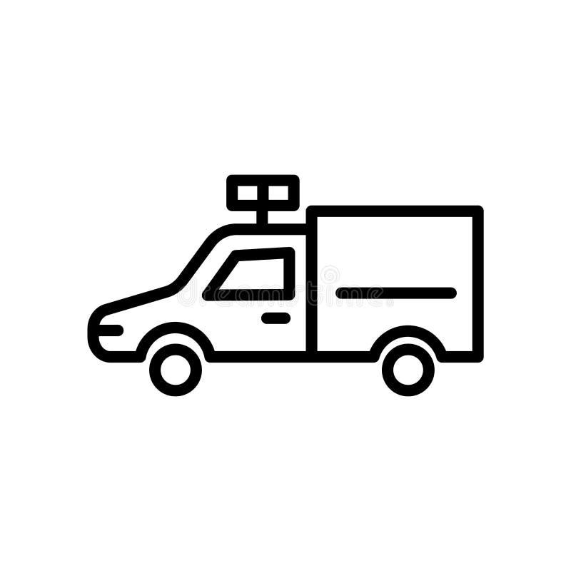 Вектор значка автомобиля безопасти изолированный на белой предпосылке, знаке автомобиля безопасти, линейном символе и элементах д иллюстрация штока