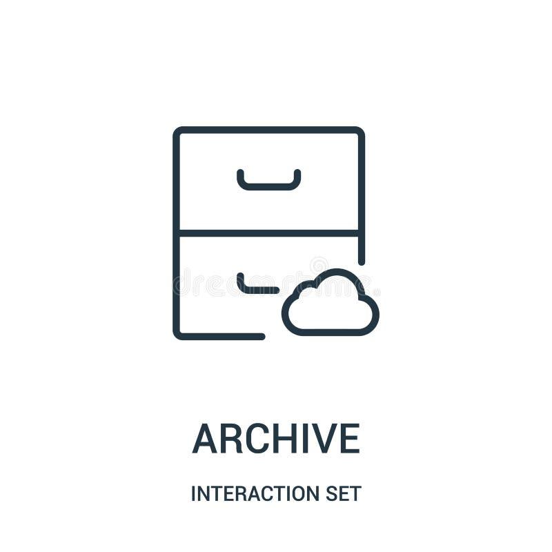 вектор значка архива от собрания набора взаимодействия Тонкая линия иллюстрация вектора значка плана архива бесплатная иллюстрация