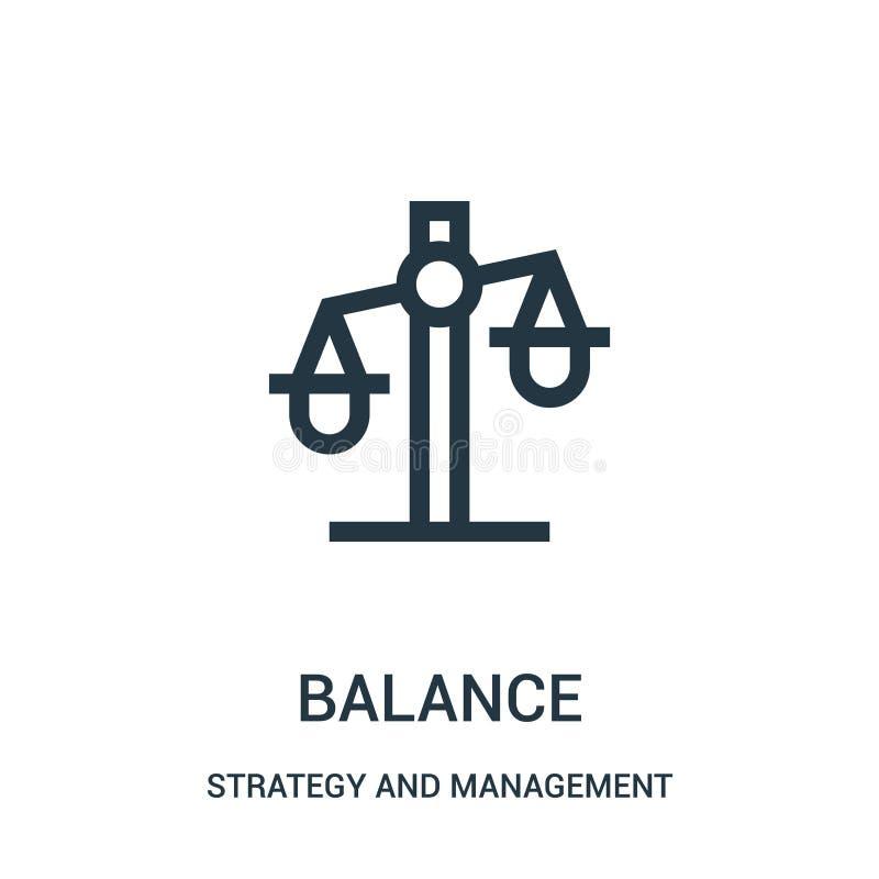 вектор значка баланса от стратегии и собрания управления Тонкая линия иллюстрация вектора значка плана баланса иллюстрация штока