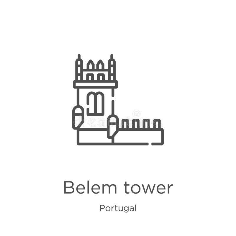 вектор значка башни belem от собрания Португалии Тонкая линия иллюстрация вектора значка плана башни belem План, тонкая линия bel бесплатная иллюстрация