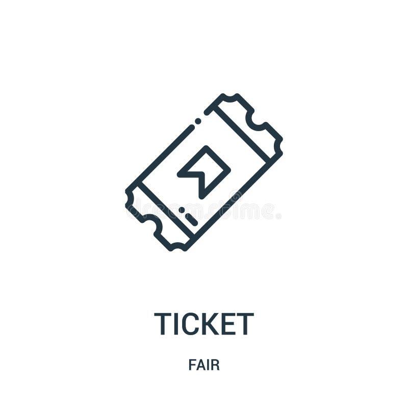 вектор значка билета от справедливого собрания Тонкая линия иллюстрация вектора значка плана билета Линейный символ для пользы на бесплатная иллюстрация