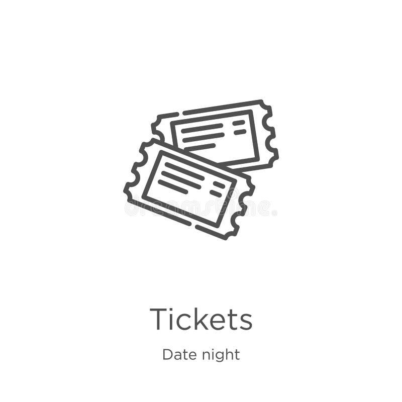 вектор значка билетов от собрания ночи даты Тонкая линия иллюстрация вектора значка плана билетов План, тонкая линия билеты иллюстрация вектора